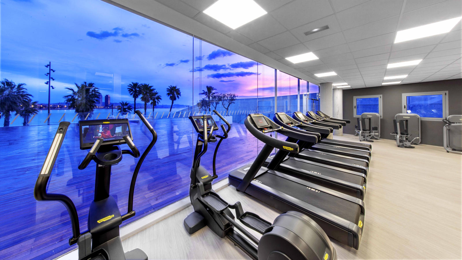 Gym with views of the Mediterranean at W Barcelona