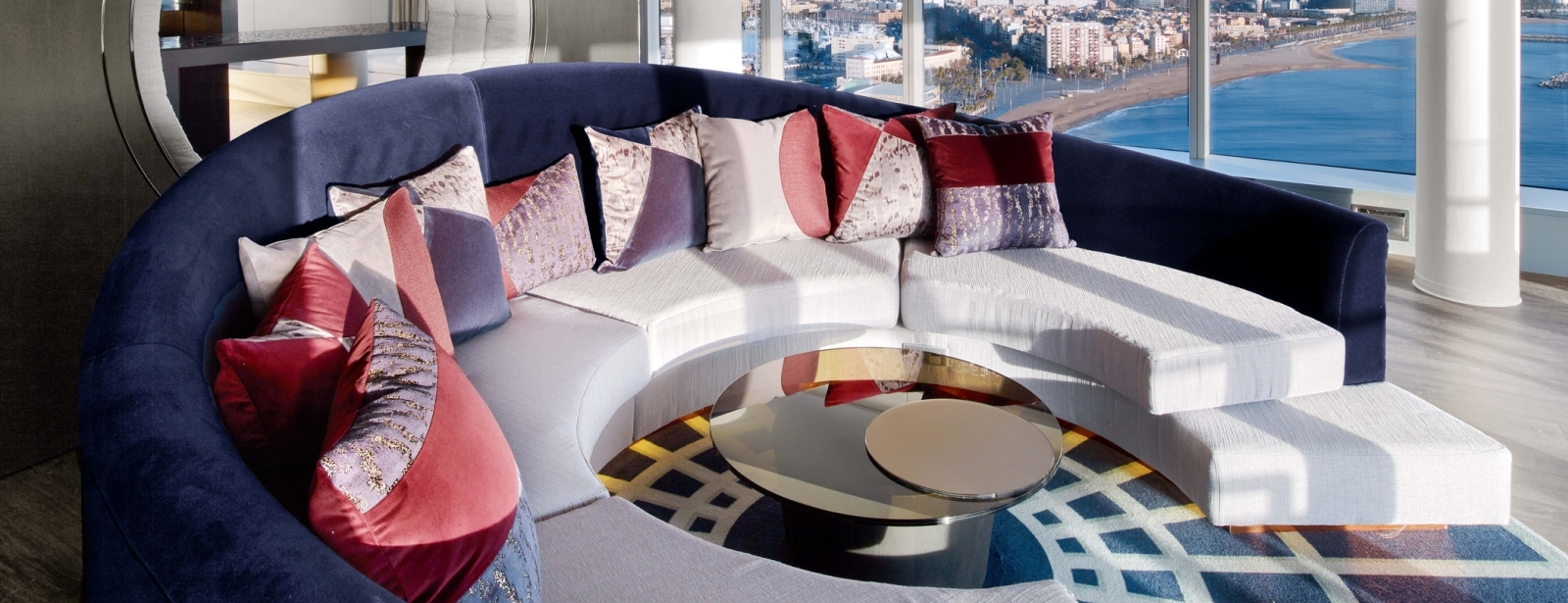 Extreme Wow Suite Living Room with views at W Barcelona
