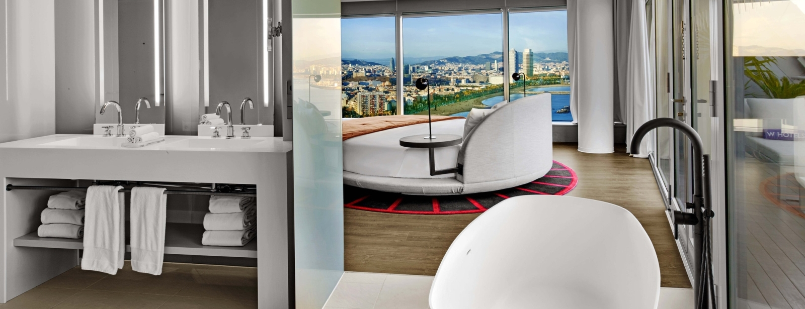 WOW Suite Bathroom and Bedroom at W Barcelona