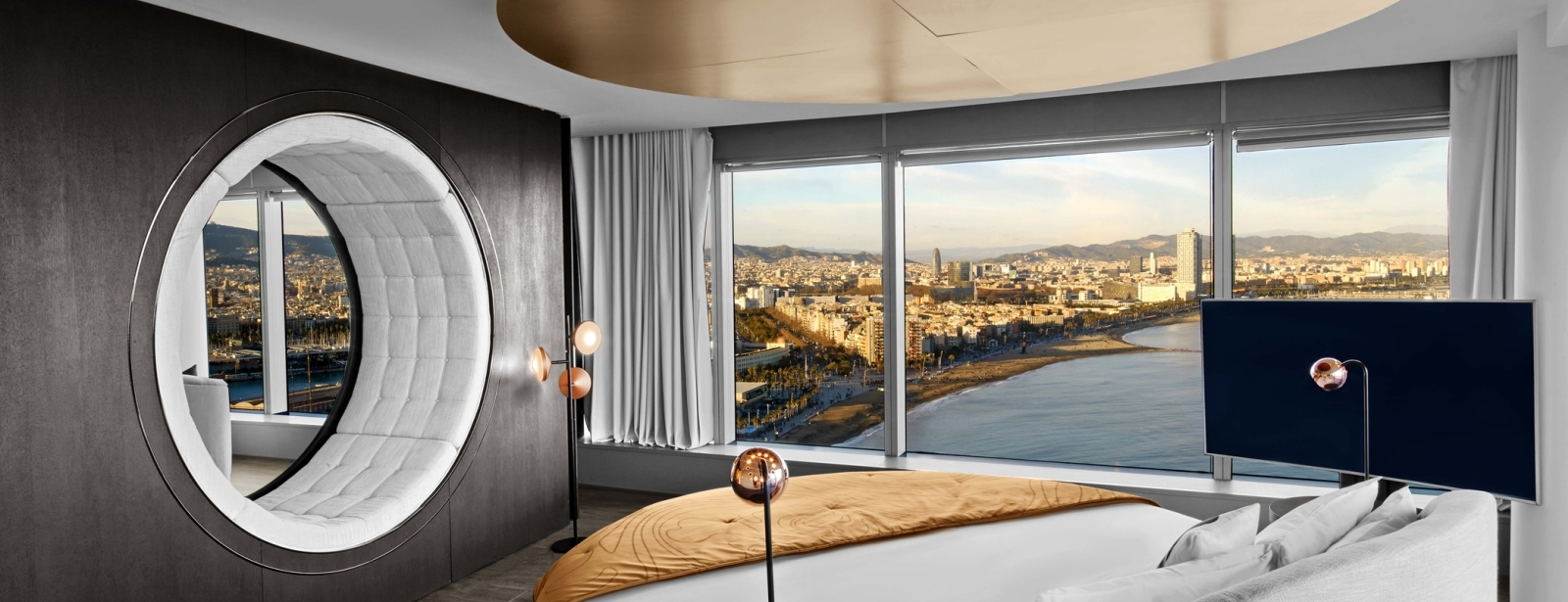 WOW Suite Bedroom at 5 star hotel W Barcelona
